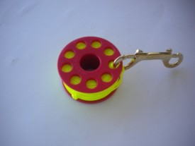 "100' Finger Spool w/ Red spool body ""High Viz Yellow Line"" - Product Image"