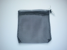 "Mini Drawstring Mesh Bag ""Black"" w/ Black Plastic D-Ring - Product Image"