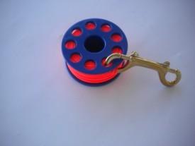 "100' Finger Spool w/ Blue spool body ""High Viz Neon ORANGE Line"" - Product Image"