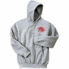 Grey 9.3oz Hooded Sweatshirt w/front pouch  LARGE - Product Image