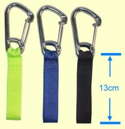 "3 3/4"" Inch Stainless Steel Carabiner w/ Yellow 1"" inch Webbing Loop - Product Image"