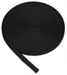 "1"" Inch Commercial Grade Tubular Webbing  - BLACK - Product Image"