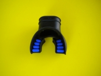 "Comfort Bite Silicone Mouth Piece Standard Size ""BLACK w/Blue accents"" - Product Image"