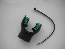 "Comfort Bite Silicone Mouth Piece Standard Size ""BLACK w/Green accents"" - Product Image"