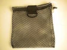 """Mini Drawstring Mesh Bag W/ Black Plastic D-Ring """"Black"""" - Product Image"""