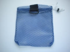 "Mini Drawstring Mesh Bag W/ Black Plastic D-Ring ""Blue"" - Product Image"