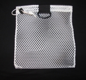 "Mini Drawstring Mesh Bag W/ Black Plastic D-Ring ""White"" - Product Image"
