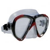 "Piranha Wide View Mask     ""Red/Black Frame/Clear Skirt""    ""Accepts Lenses"" - Product Image"