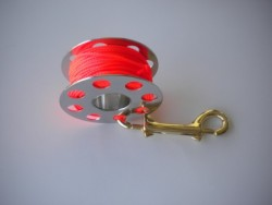 "**Special** 66ft Stainless Steel Finger Spool w/ #24 ORANGE Line & 4"" Brass Clip! - Product Image"