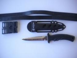 "Piranha Torpedo SS Spear Fishing Knife ""Black Handle / Black Sheath"" - Product Image"