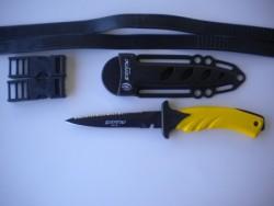 "Piranha Torpedo Spear Fishing Knife ""Yellow Handle / Black Coated Blade / Black Sheath"" - Product Image"