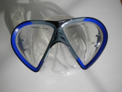 Vista Mask Blue w/grey accents Clear Silicone - Product Image