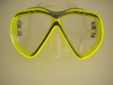 Tiara 2 Mask  Neon Yellow / Grey Accent w/Clear Silicone skirt - Product Image