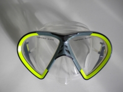 Vista Mask Yellow w/grey accents Clear Silicone - Product Image
