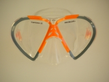 Vista Mask Grey Outer Frame w/Orange Inside accents Clear Silicone Skirt - Product Image