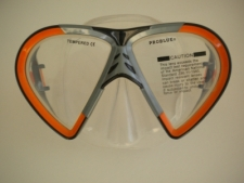 Vista Mask Orange w/grey accents Clear Silicone - Product Image