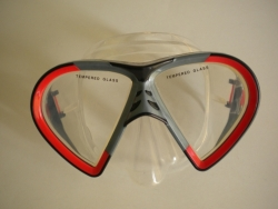Vista Mask Red w/grey accents Clear Silicone - Product Image