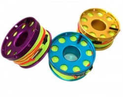"100ft Anodized Aluminum Flange Edge Finger Spool w/ Neon Yellow/Green Line & line swivel! ""AQUA-BLUE"" - Product Image"