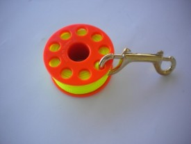 "100' Finger Spool w/ Orange spool body ""High Viz Yellow Line"" - Product Image"