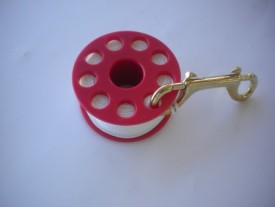 "100' Finger Spool w/ Red spool body complete w/ Brass Double Ender! ""WHITE Line"" - Product Image"