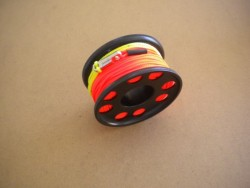 "100ft Anodized Aluminum Finger Spool w/ Orange Line & line swivel!  ""BLACK Body"" - Product Image"