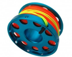 100ft Anodized Aqua BLUE Aluminum Flange Edge Finger Spool w/line swivel & High Viz Orange line! - Product Image