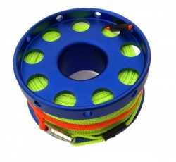 100ft Anodized Dark BLUE Aluminum Flange Edge Finger Spool w/line swivel & Yellow Line! - Product Image