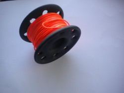 "100ft PVC Coated Stainless Steel Finger Spool w/ Orange Line! ""2 ONLY!"" - Product Image"