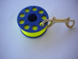 "100' Finger Spool w/ Blue spool body ""High Viz Yellow Line"" - Product Image"