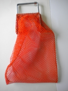 "Wired Handle Mesh Bag SMALL  ORANGE 15"" x 20"" with Plastic D-Ring!"" - Product Image"