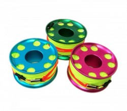 "100ft Anodized Aluminum Finger Spool w/ Neon Yellow/Green Line & line swivel!  ""Pink Body"" - Product Image"