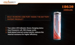 New! 18650 Lithium 3400 mAh Battery w/ USB Charging Port! - Product Image