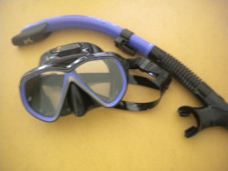 """IST Combo Kit Martinique Mask / Semi-Dry Snorkel Package! """" Purple Trim / Black Skirt"""" - Product Image"""