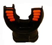 "Comfort Bite Silicone Mouth Piece Standard Size ""BLACK w/Orange accents"" - Product Image"