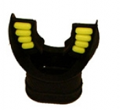 "Comfort Bite Silicone Mouth Piece Standard Size ""BLACK w/Yellow accents"" - Product Image"