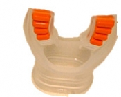"Comfort Bite Silicone Mouth Piece Standard Size ""Clear w/Orange accents"" - Product Image"