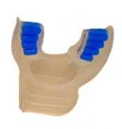 "Comfort Bite Silicone Mouth Piece Standard Size ""Clear w/Blue accents"" - Product Image"