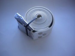 """55"""" (140cm) Rubber Weight Belt with Standard SS Buckle """"1 Only in WHITE!"""" - Product Image"""