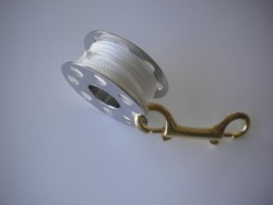 "66ft Stainless Steel Finger Spool w/ WHITE Line & 4"" Brass Clip! - Product Image"