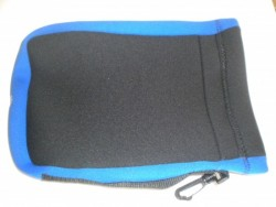 "Neoprene Mask Bag / Storage Pocket! ""All Black w/BLUE trim"" - Product Image"