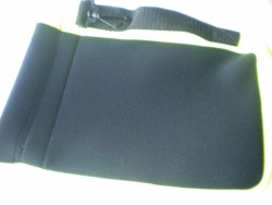 "Neoprene Mask Bag / Storage Pocket! ""All Black w/YELLOW trim"" - Product Image"