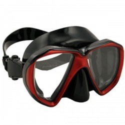 "Piranha Fish Eyes Mask     ""Metallic Red / Black Frame/Black Skirt""    ""Accepts Lenses"" - Product Image"