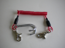 Bungee RED Laynard w/ Trigger Nickle Plated Snaps & Double Hook - Product Image