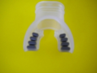 "Comfort Bite Silicone Mouth Piece Standard Size ""Clear w/Silver accents"" - Product Image"
