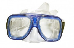 "Special! Edge Optix Mask    ""Blue Frame / Clear Skirt""    ""Accepts Lenses"" w/ Hard Plastic Case! - Product Image"