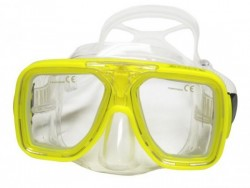 "Special! Edge Optix Mask    ""Yellow Frame / Clear Skirt""    ""Accepts Lenses"" w/ Hard Plastic Case! - Product Image"