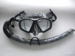 "Hydro-Dip Mask and Matching Snorkel Combo ""Mossy Black Design"" - Product Image"
