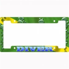 "Metal License Plate Frame  ""Nitrox Green Bubbles"" - Product Image"