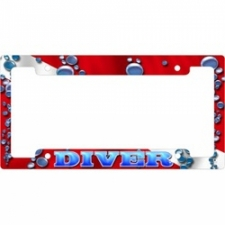 "Metal License Plate Frame  ""Red Bubbles"" - Product Image"