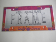 "Metal License Plate Frame  ""Salty Bone Hibiscus"" - Product Image"
